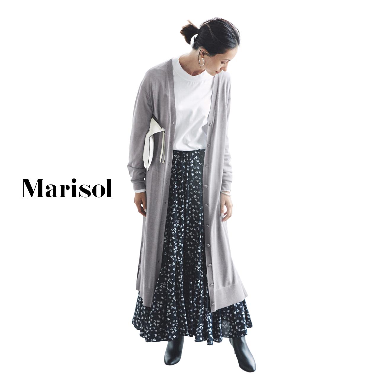 40代ファッション ロングカーディガン×Tシャツ×マキシ丈スカートコーデ