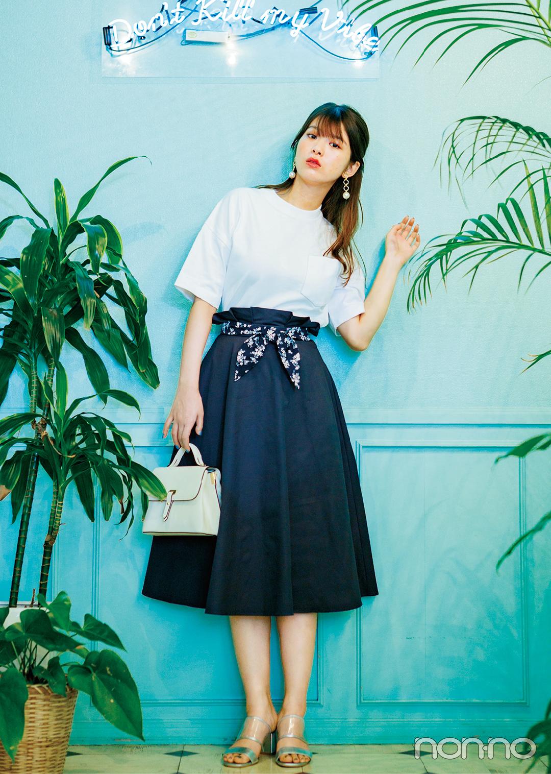 Tシャツ×Aラインスカートの組み合わせ、細見えに効果アリって知ってた?_1_3-1