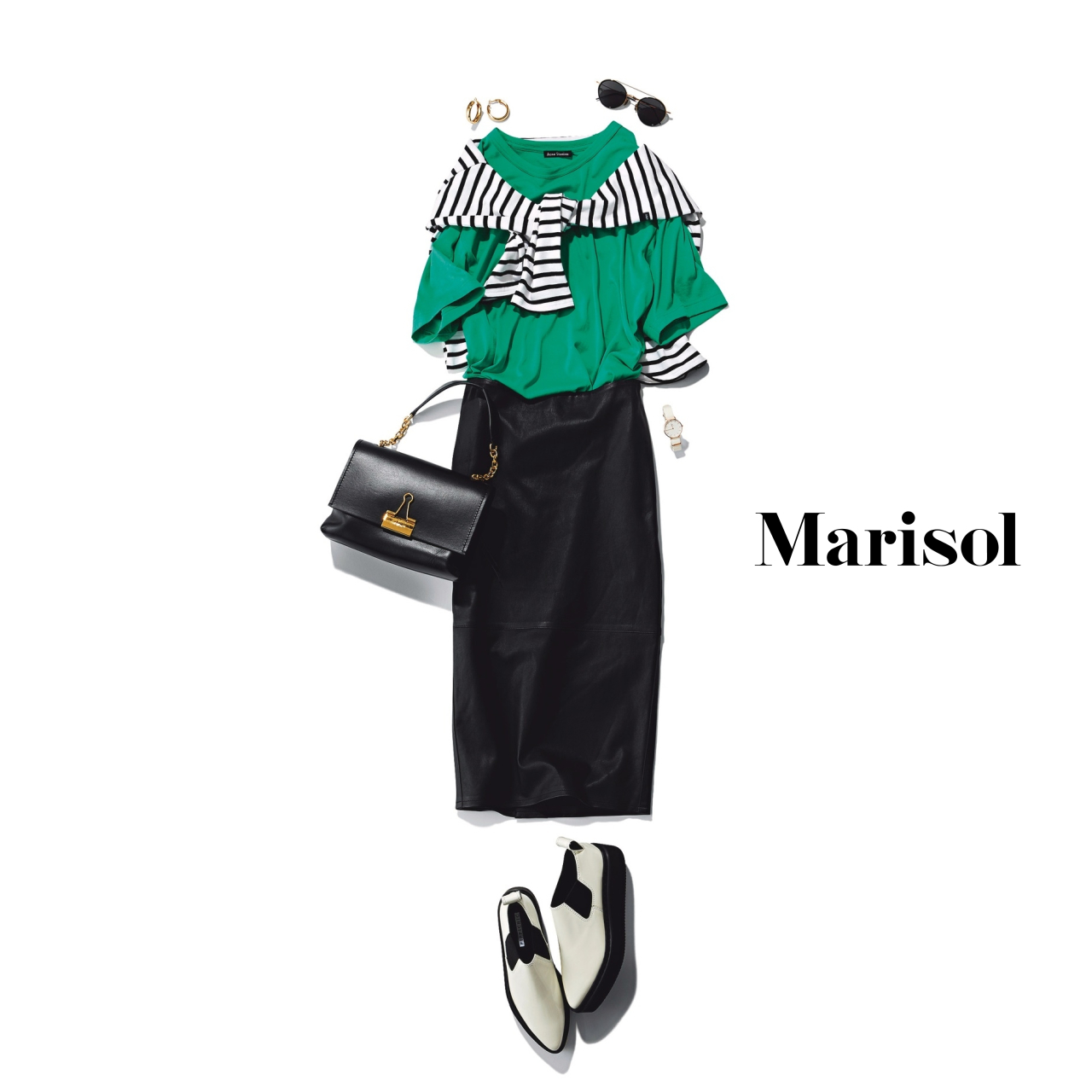 40代ファッション グリーンTシャツ×タイトスカート コーデ