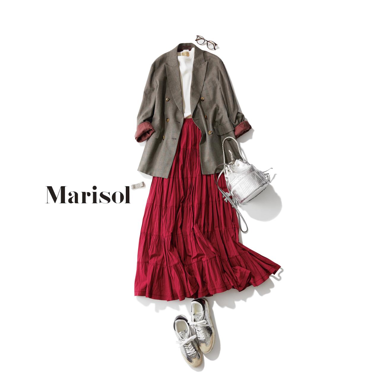 ジャケット×赤スカートコーデ