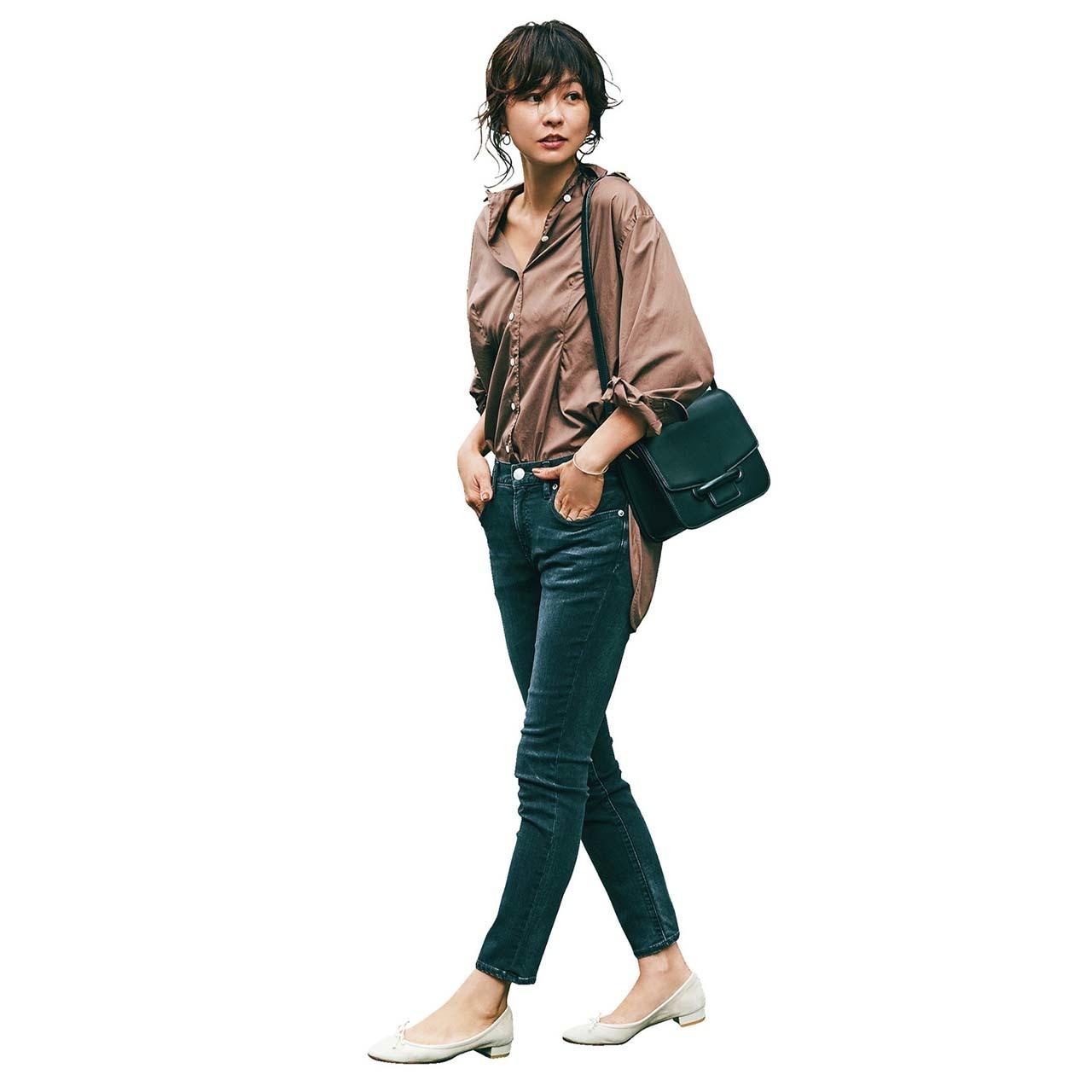 シャツ×デニムパンツのファッションコーデ