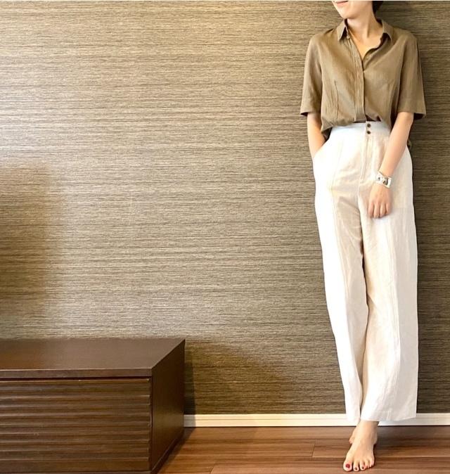 Tiffany ティファニー ボーンカフ シルバー クロエのシャツとパリゴのパンツ コーデ