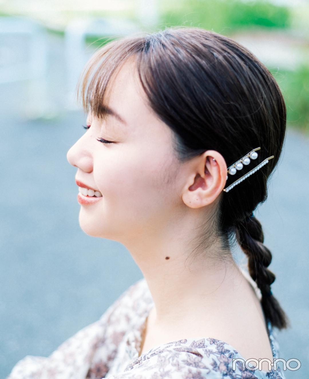 【ヘアアレンジ】一つ結び、耳の後ろにパールピンが可愛いって知ってた?_1_4