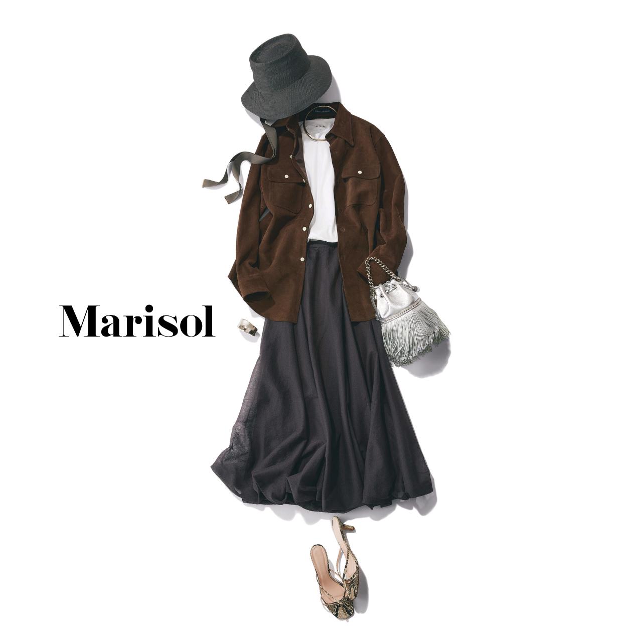 40代ファッション  帽子×Tシャツ×シャツ×スカートコーデ