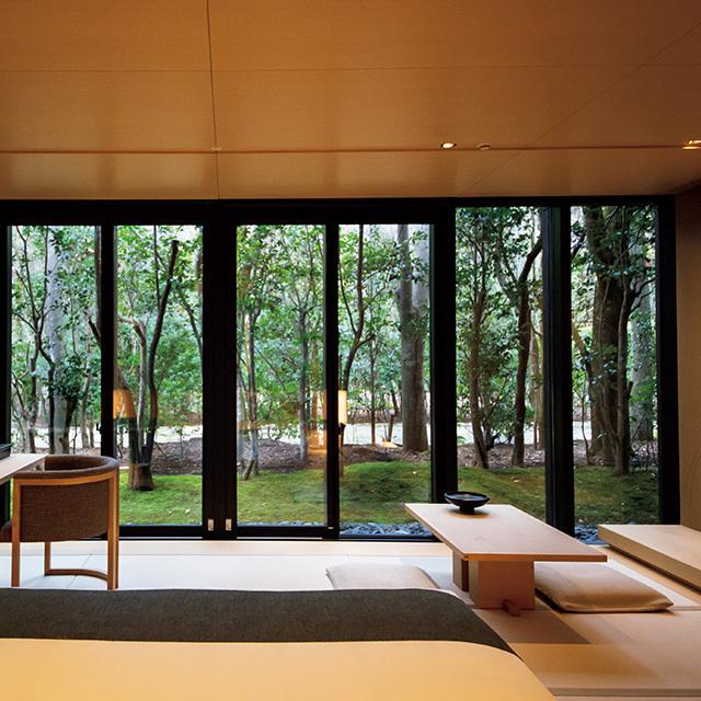 壁一面の窓の向こうは四季折々の木々
