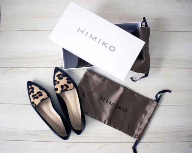 レオパード柄HIMIKOのポインテッドトウフラットパンプス