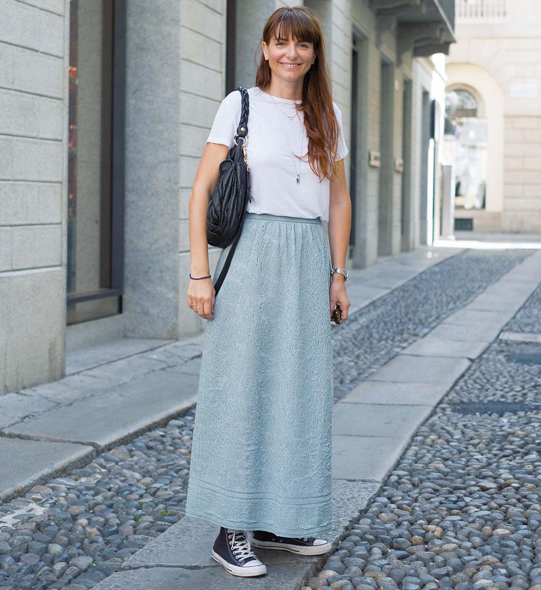 海外ファッションスナップ Tシャツコーデ1
