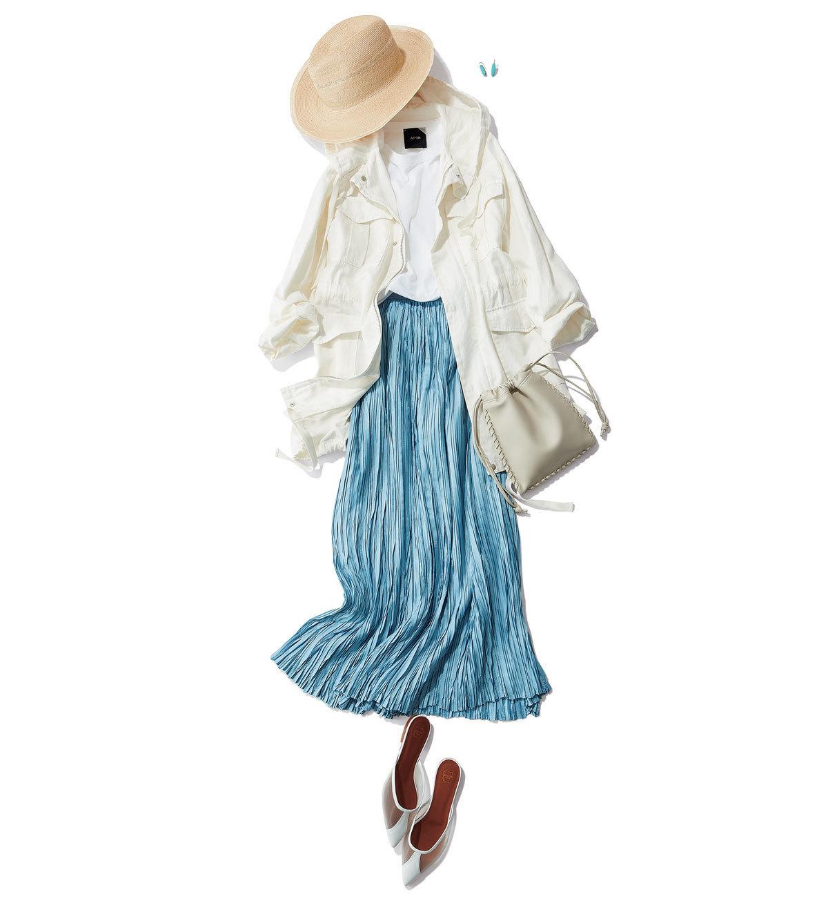 ラフなアウターとレディなスカート、間違いのないミックスコーデ