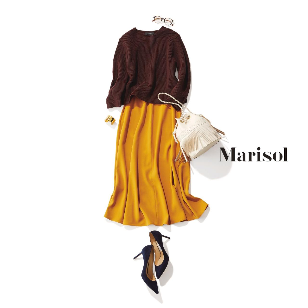 イエロースカート×ブラウンニットのファッションコーデ