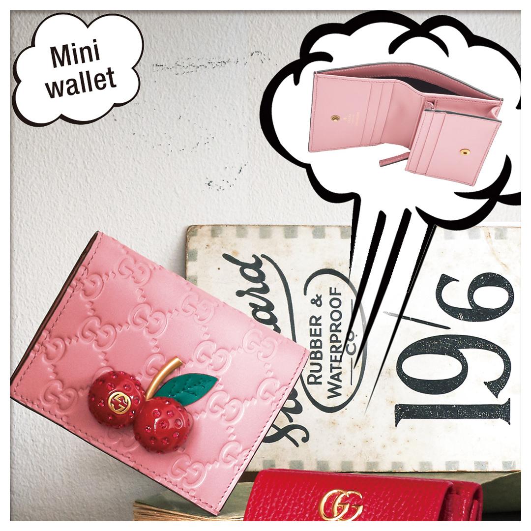 日本限定 チェリー グッチ シグネチャー カードケース(コイン&紙幣入れ付き)(スタイル 476050 0G6EZ 5878)