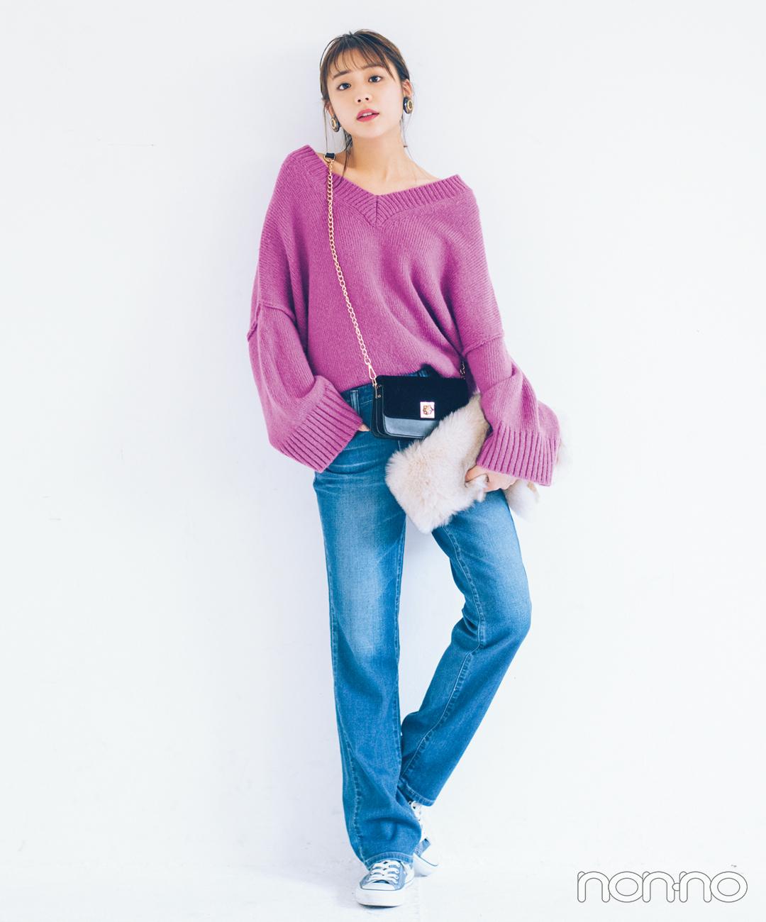 【ストレートデニムコーデ】きれい色ゆるニットで真冬の好感度モテスタイル