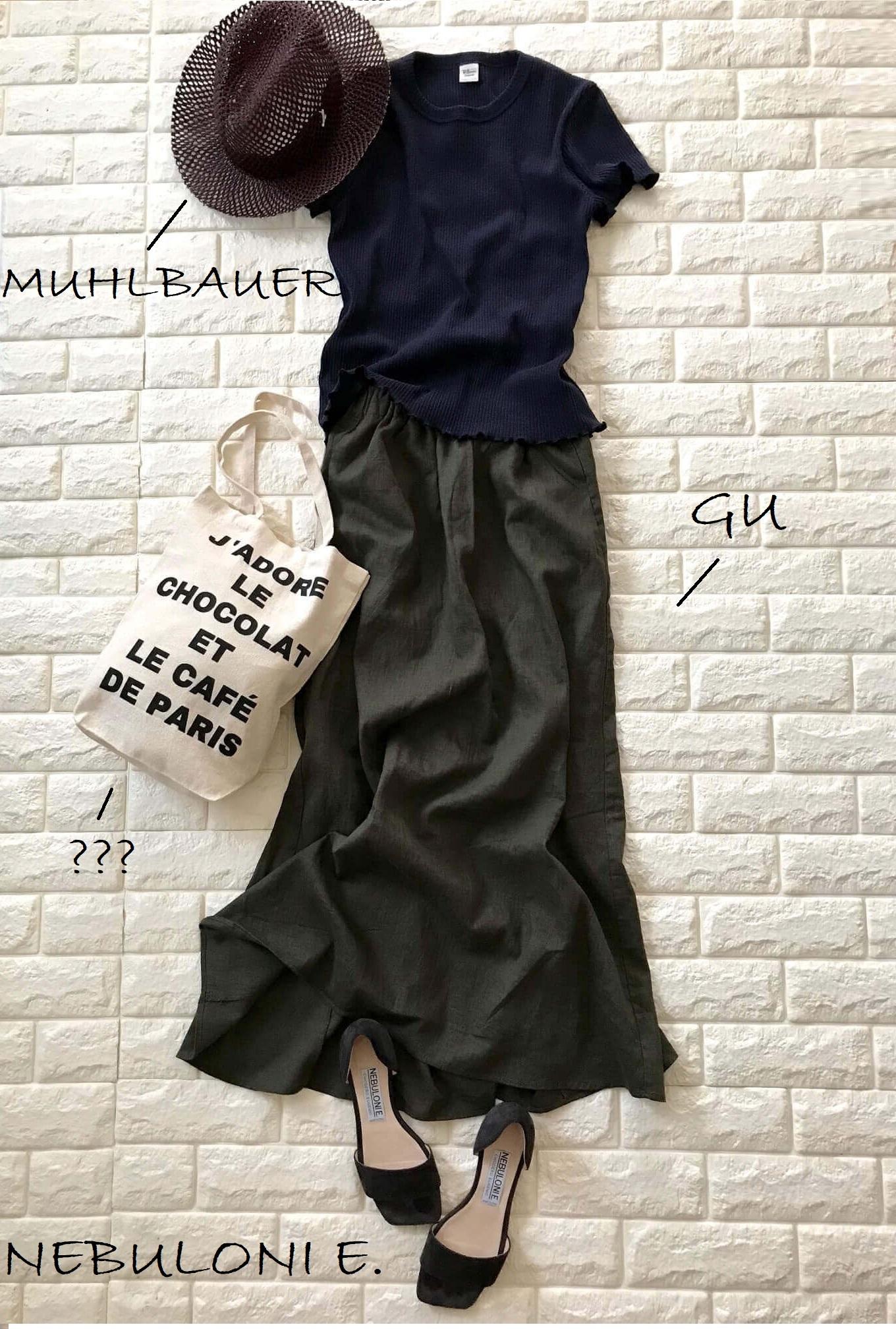 ロンハーマンの半袖ニットとリネンスカートを合わせたアースカラーコーデ