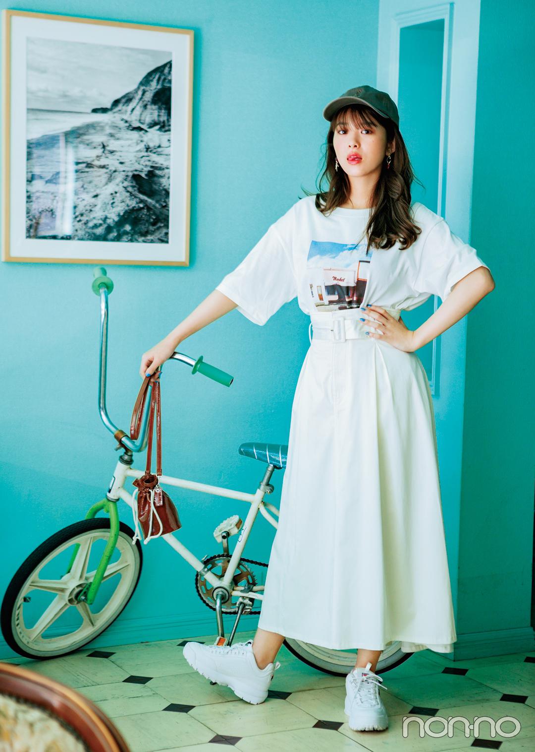 Tシャツ×Aラインスカートの組み合わせ、細見えに効果アリって知ってた?_1_3-3