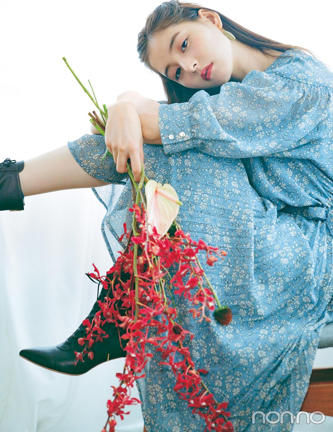 新木優子×新しいこと始まる秋服。「花柄ワンピはヴィンテージなムードで」