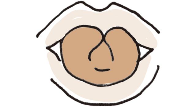 舌を縦に丸め、両端をくっつける