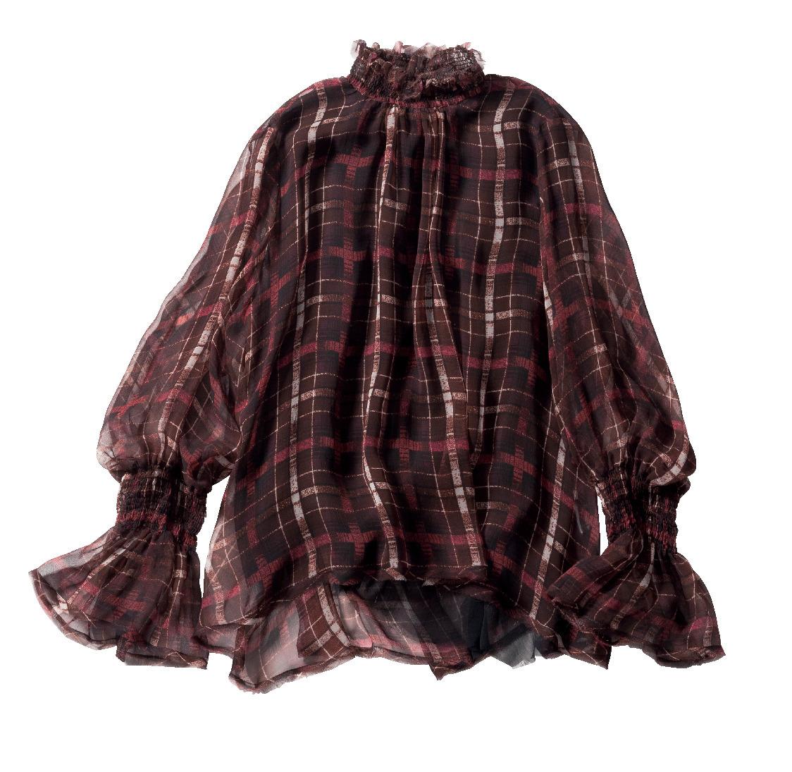 大人が選ぶチェックアイテムは、落ち着いたトーンの袖コンシャスブラウス_1_2-1