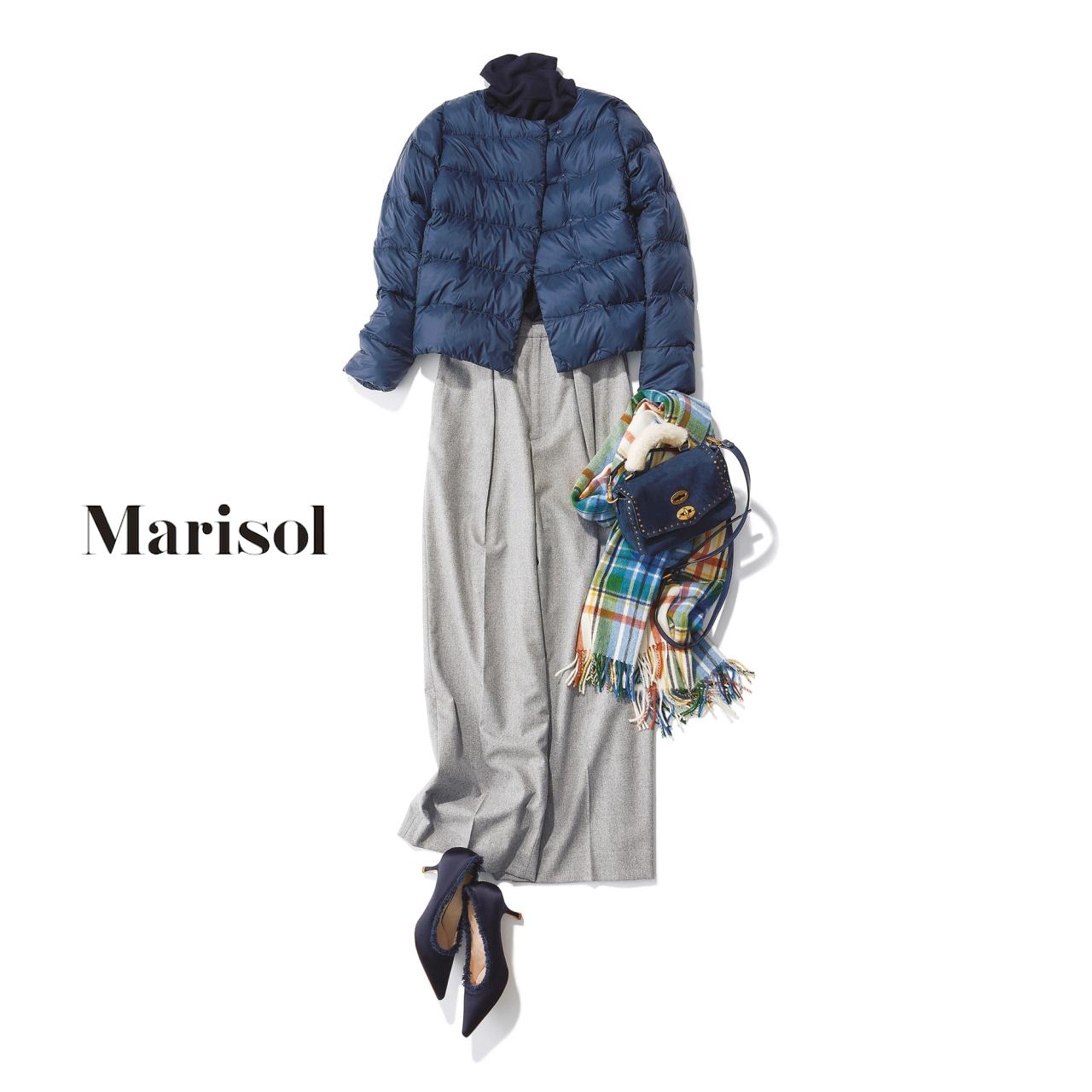 40代ファッション ダウンジャケット×ワイドパンツコーデ