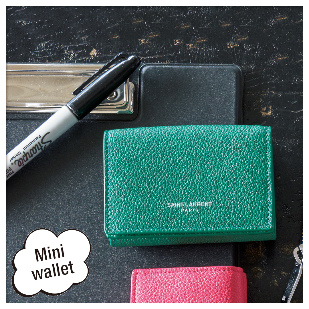 TINY WALLET IN GRAINED LEATHER(459784B680J5619)|サンローラン