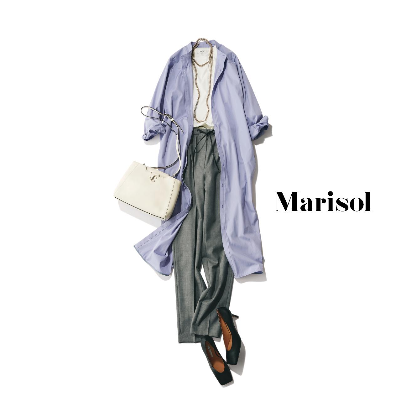 40代ファッション  ロングシャツワンピース×パンツコーデ