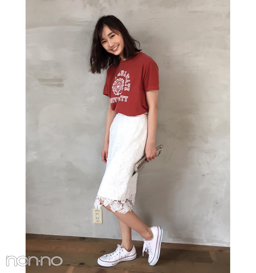 鈴木友菜はレーススカート×Tシャツで上手にカジュアルMIX【毎日コーデ】_1_1