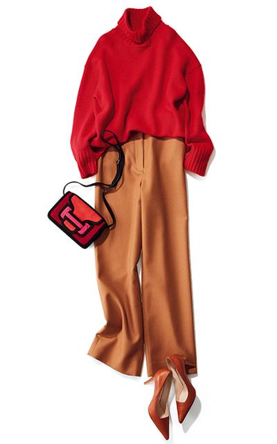 【Day21】女友だちとのイタリアンは、流行っぽいハイウエストのキャメルパンツで!【冬の洗練パンツ30days】_1_1