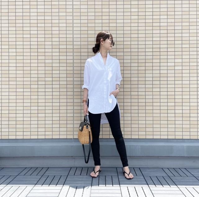 OOTD: ロングシャツのモノトーンコーデ【40代 私のクローゼット】_1_4