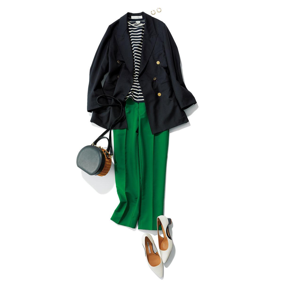 ジャケット×ボーダーTシャツ×グリーンのパンツコーデ