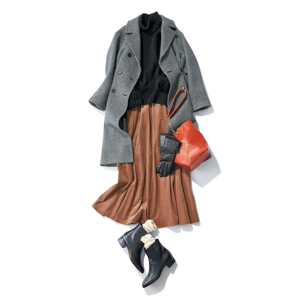 40代ファッション グレーのチェック柄コート×スカートコーデ