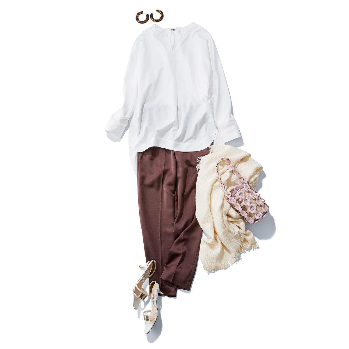 チュニックシャツ×サテン風パンツコーデ