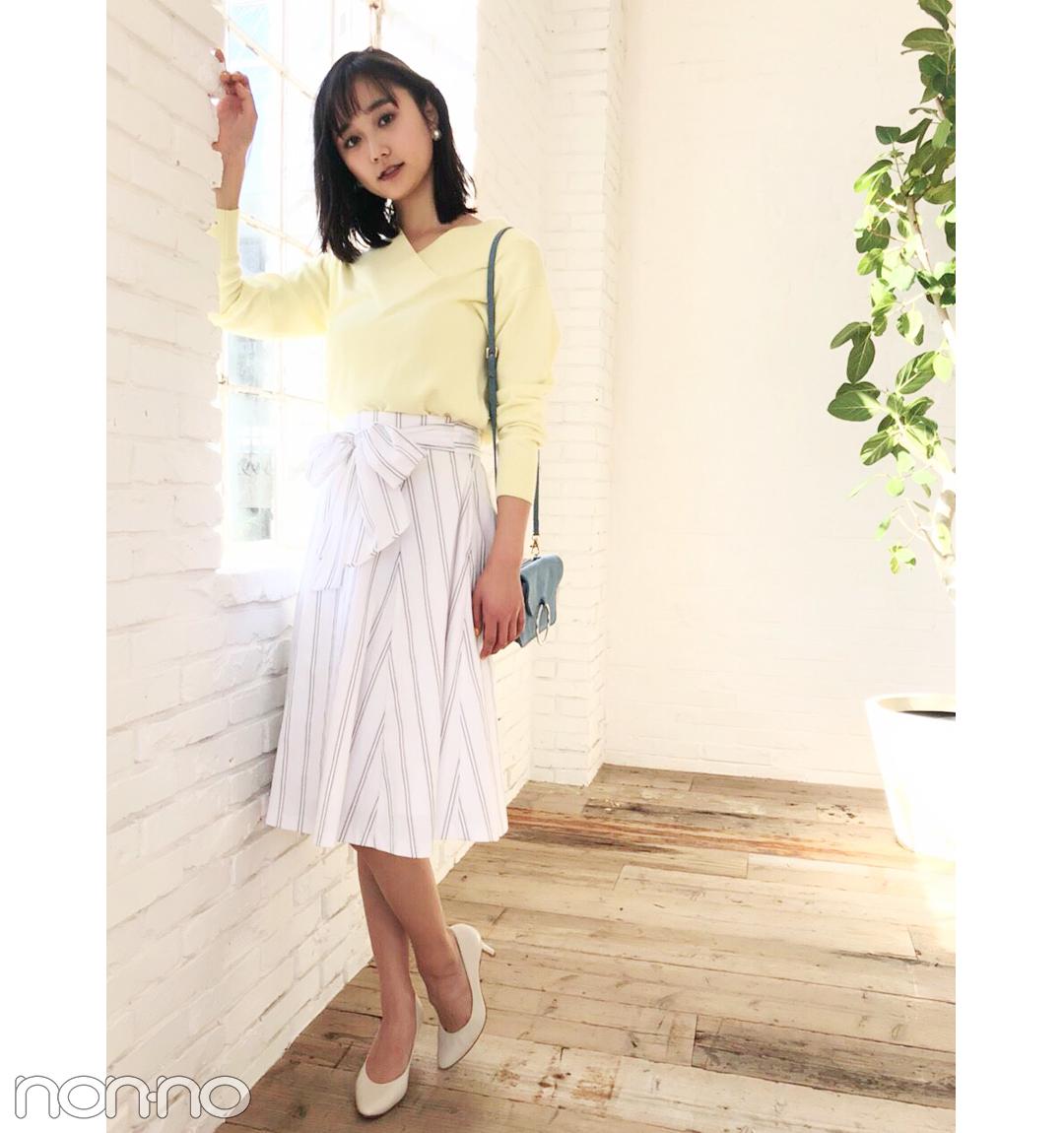 鈴木友菜はさわやかなストライプスカートで大人可愛く【毎日コーデ】_1_1