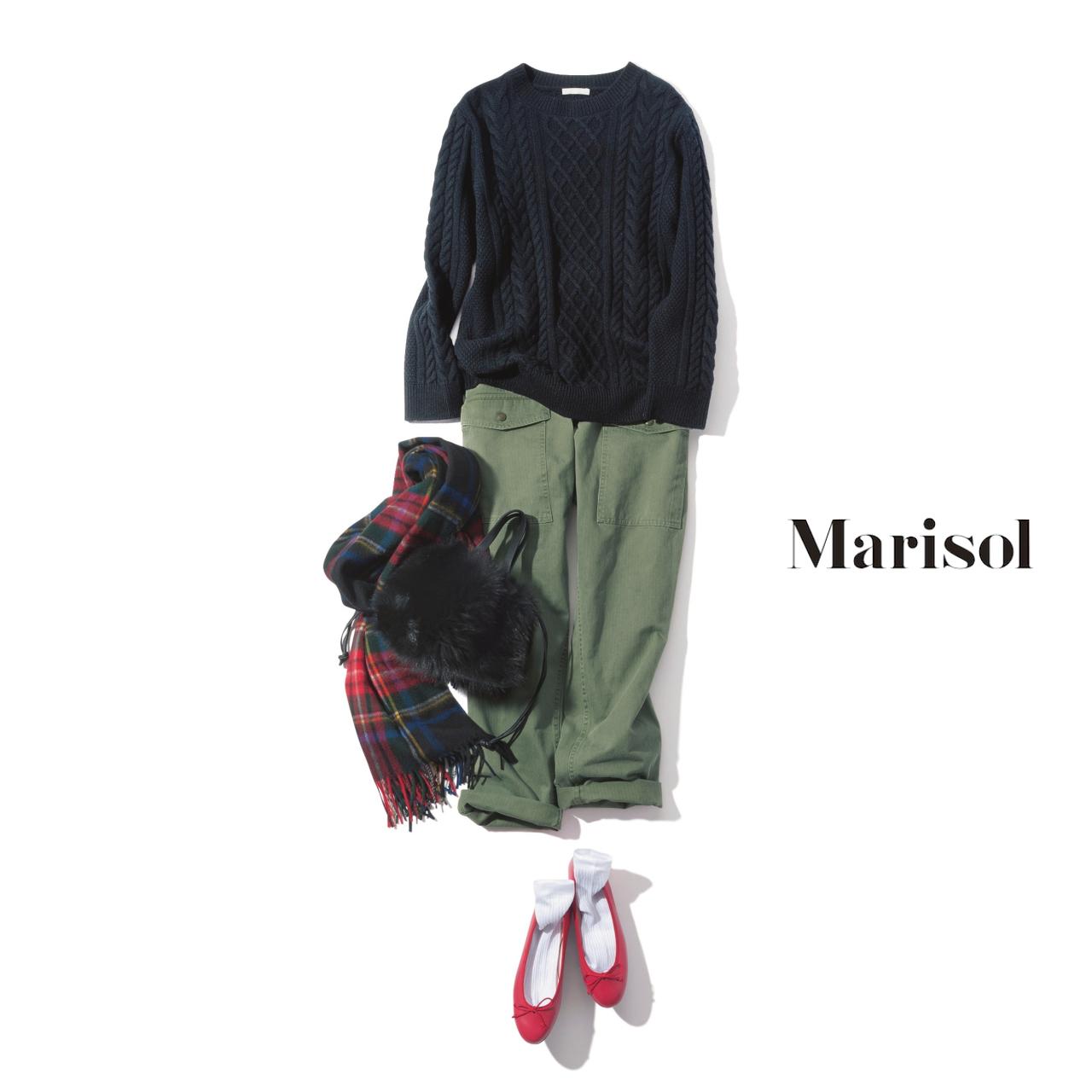 40代ファッションミドルゲージニット×ワークパンツコーデ