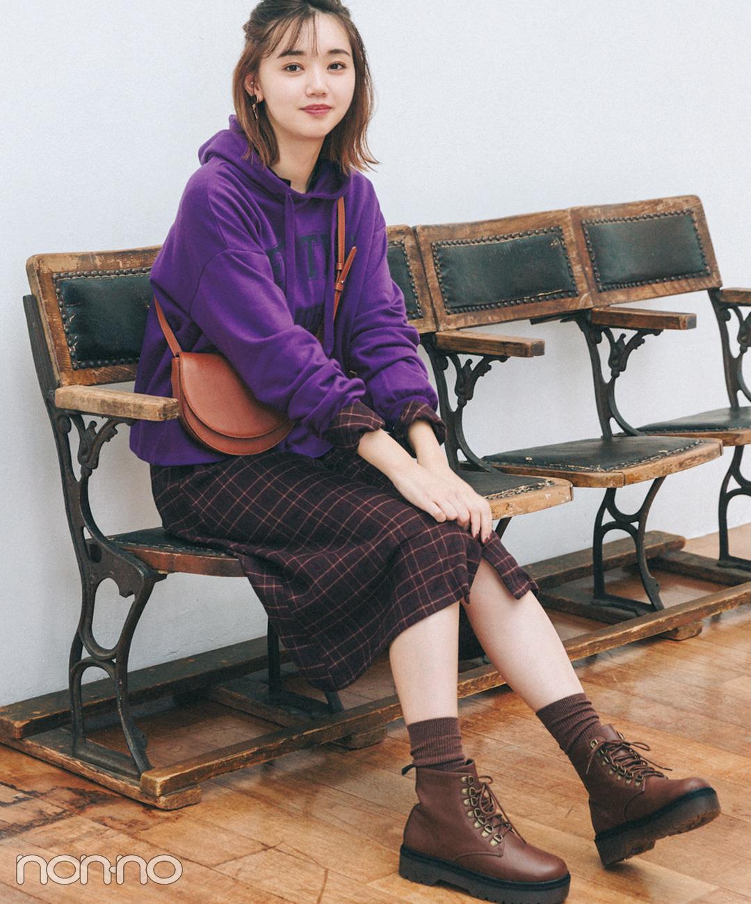 【紫・パーカコーデ】こっくりきれいな発色の組み合わせ