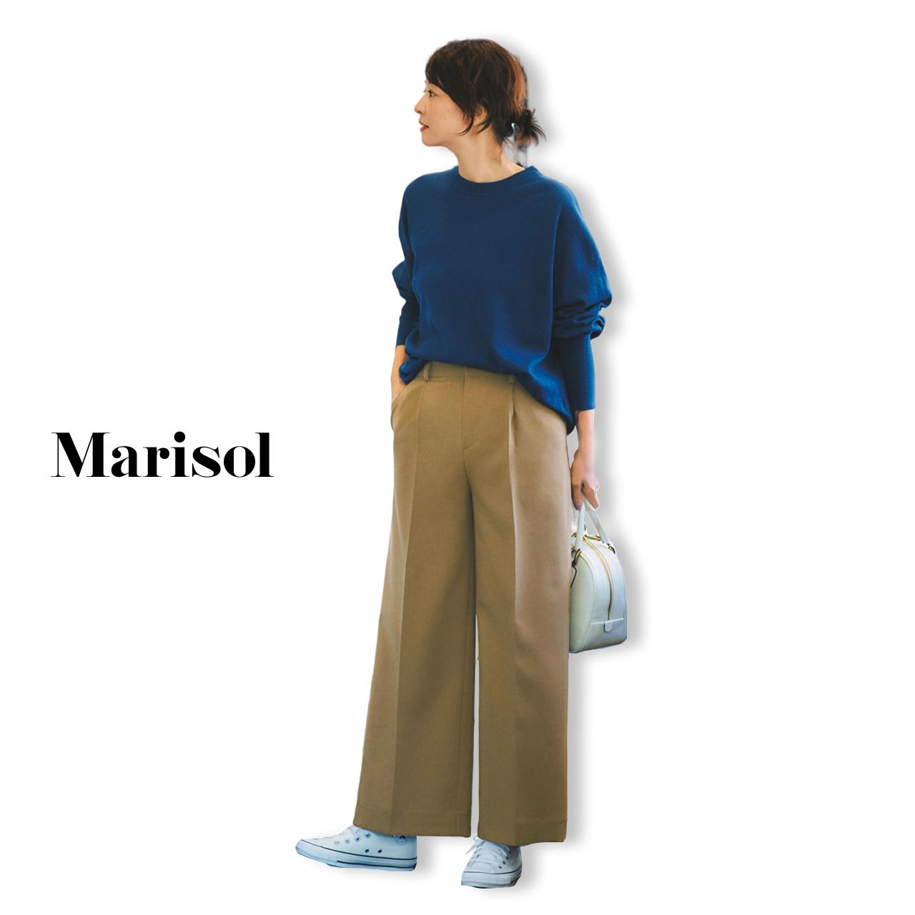 40代ファッション ブルースウェット×ワイドチノパンツコーデ