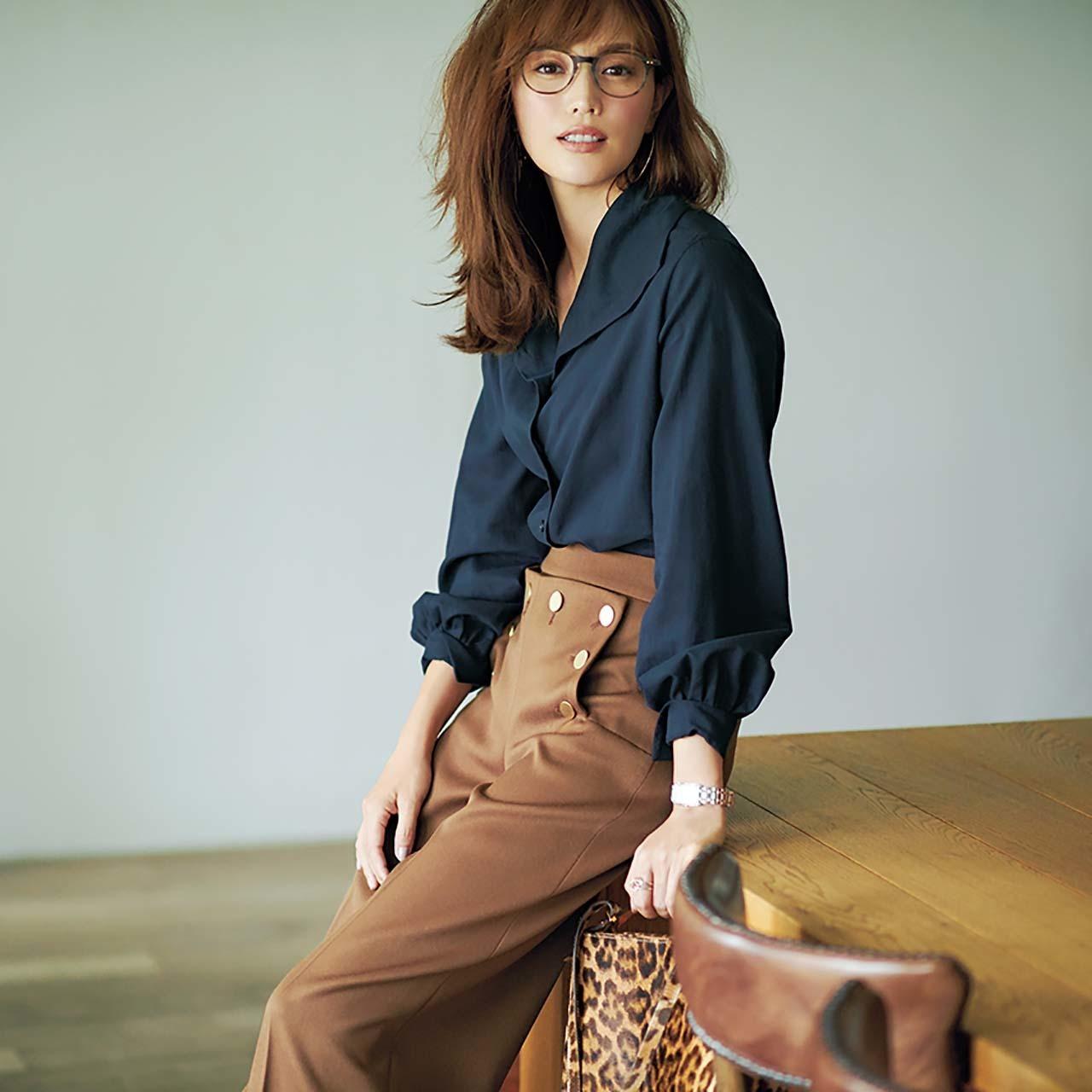 ファッション  シャツ×腰高ワイドパンツコーデ