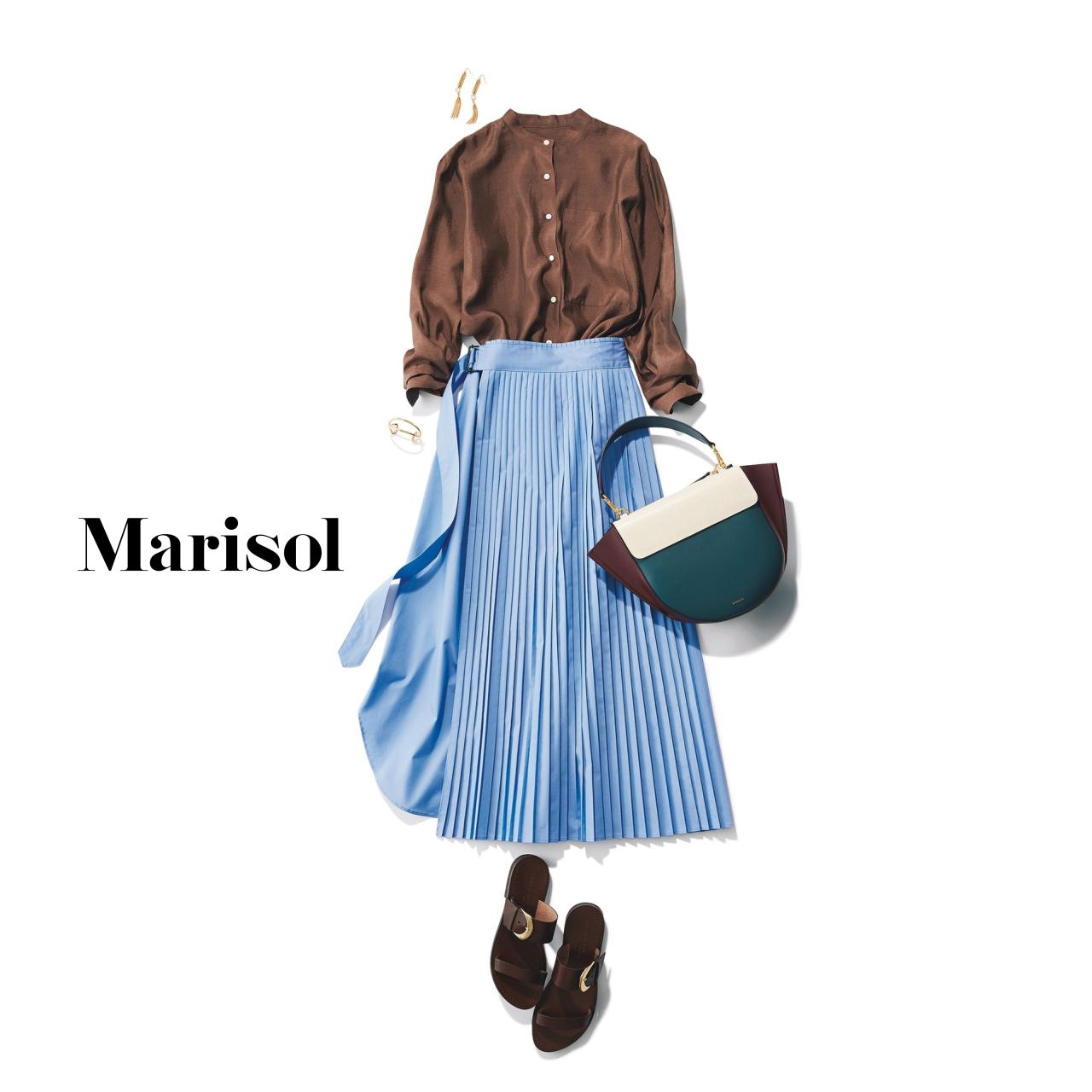 40代ファッション ブラウス×プリーツロングスカートコーデ