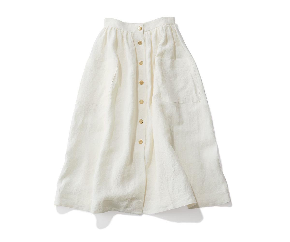 40代ファッション2019年夏のお買い物_Bonpoint Parisの金ボタンつきスカート