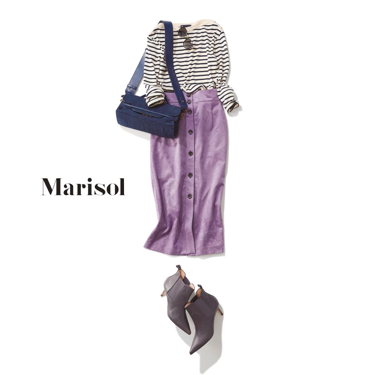 ファッション ボーダーニット×ラベンダータイトスカートコーデ