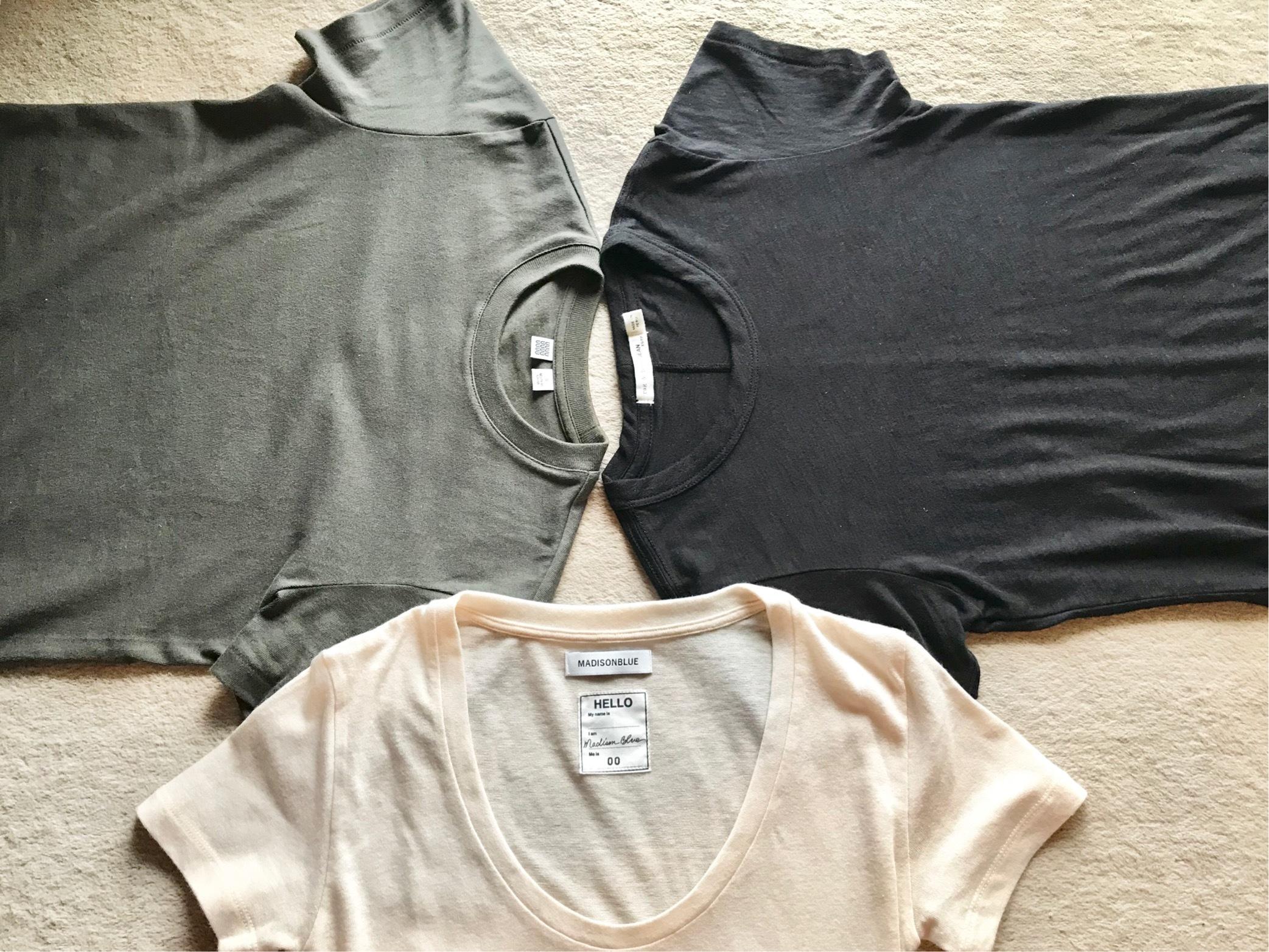 私の黒・白・カーキのTシャツコーデ☆_1_1