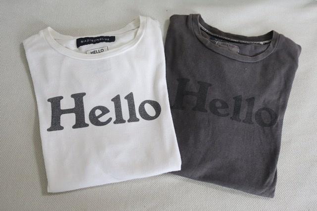 """マディソンブルーの""""Hello""""Tシャツ"""
