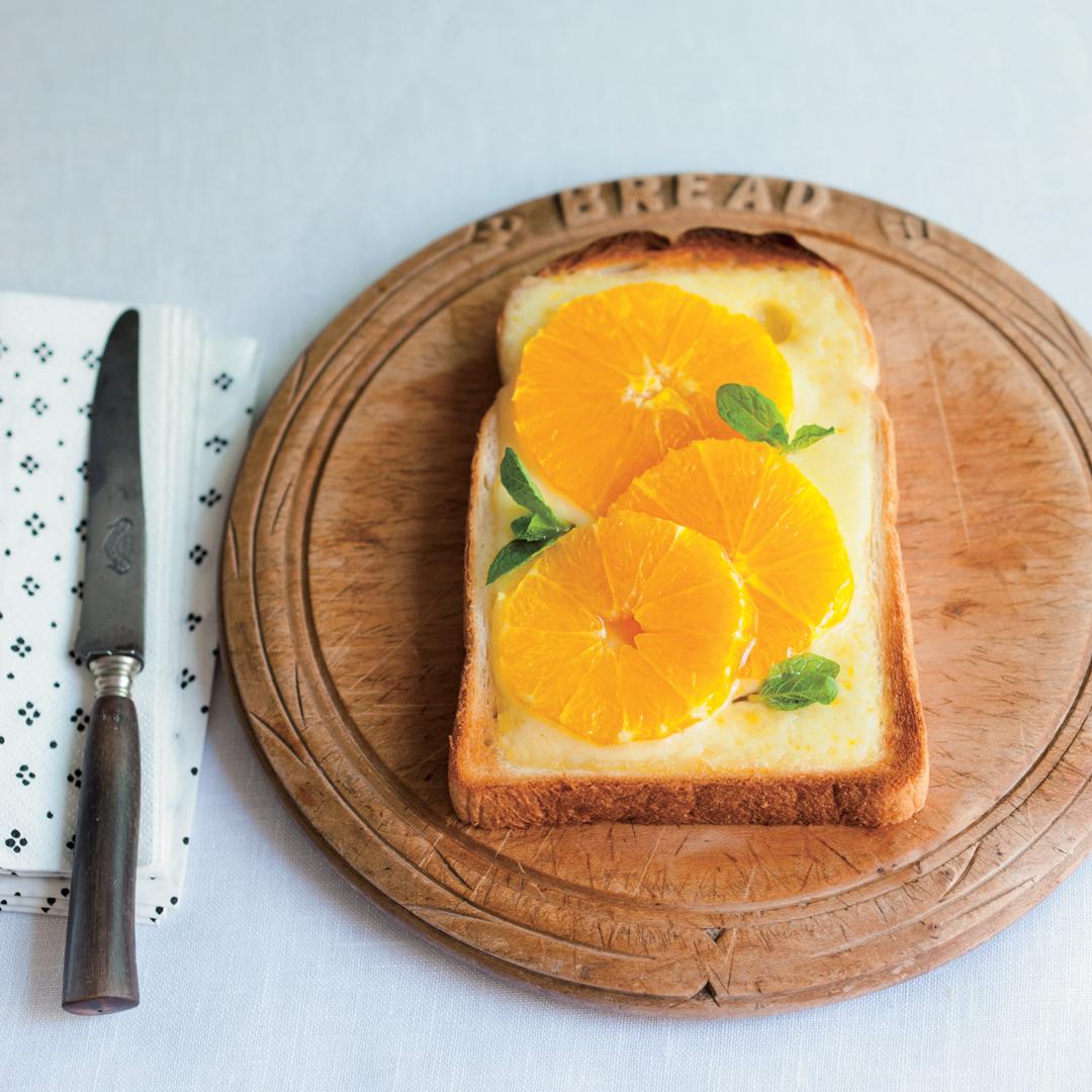 オレンジのチーズトースト
