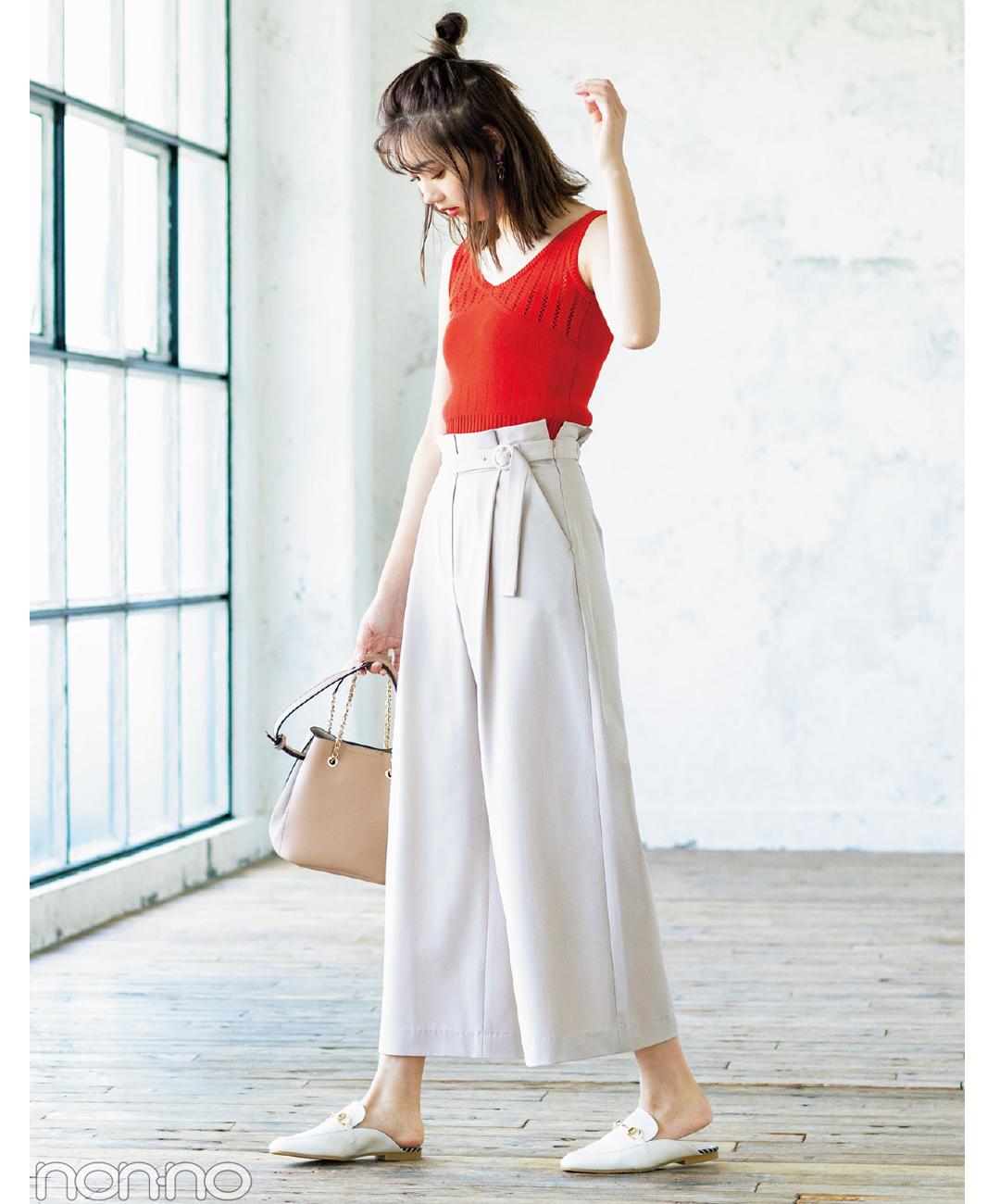 【夏のパンツコーデ】江野沢愛美は、ベルト付きワイドパンツでウエストきゅっな脚長コーデ♪