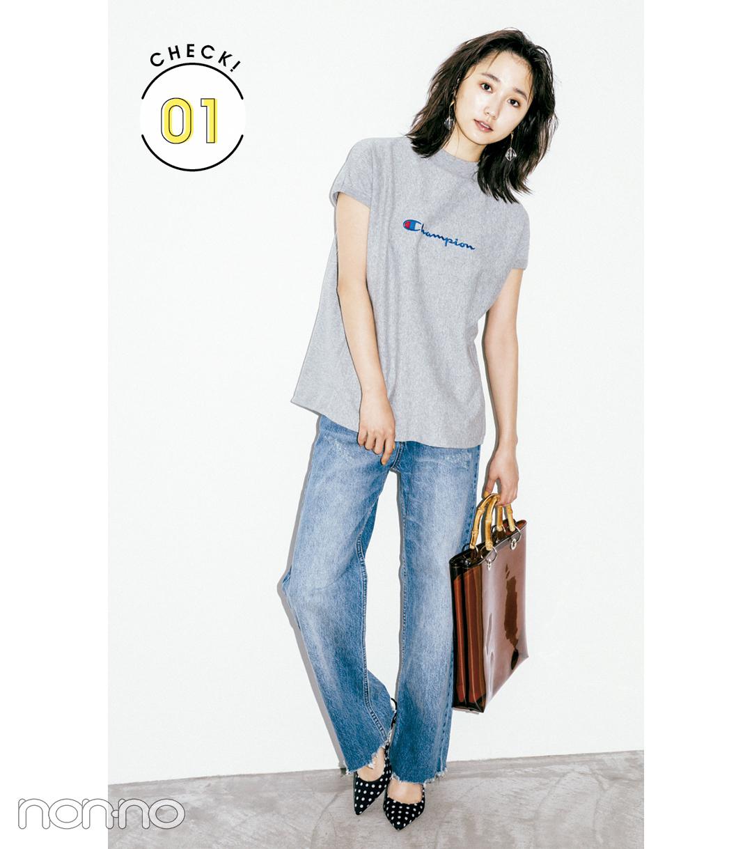 """【夏のTシャツコーデ】鈴木友菜は、女らしさのある""""ゆるシルエット""""で洗練されたムードに"""