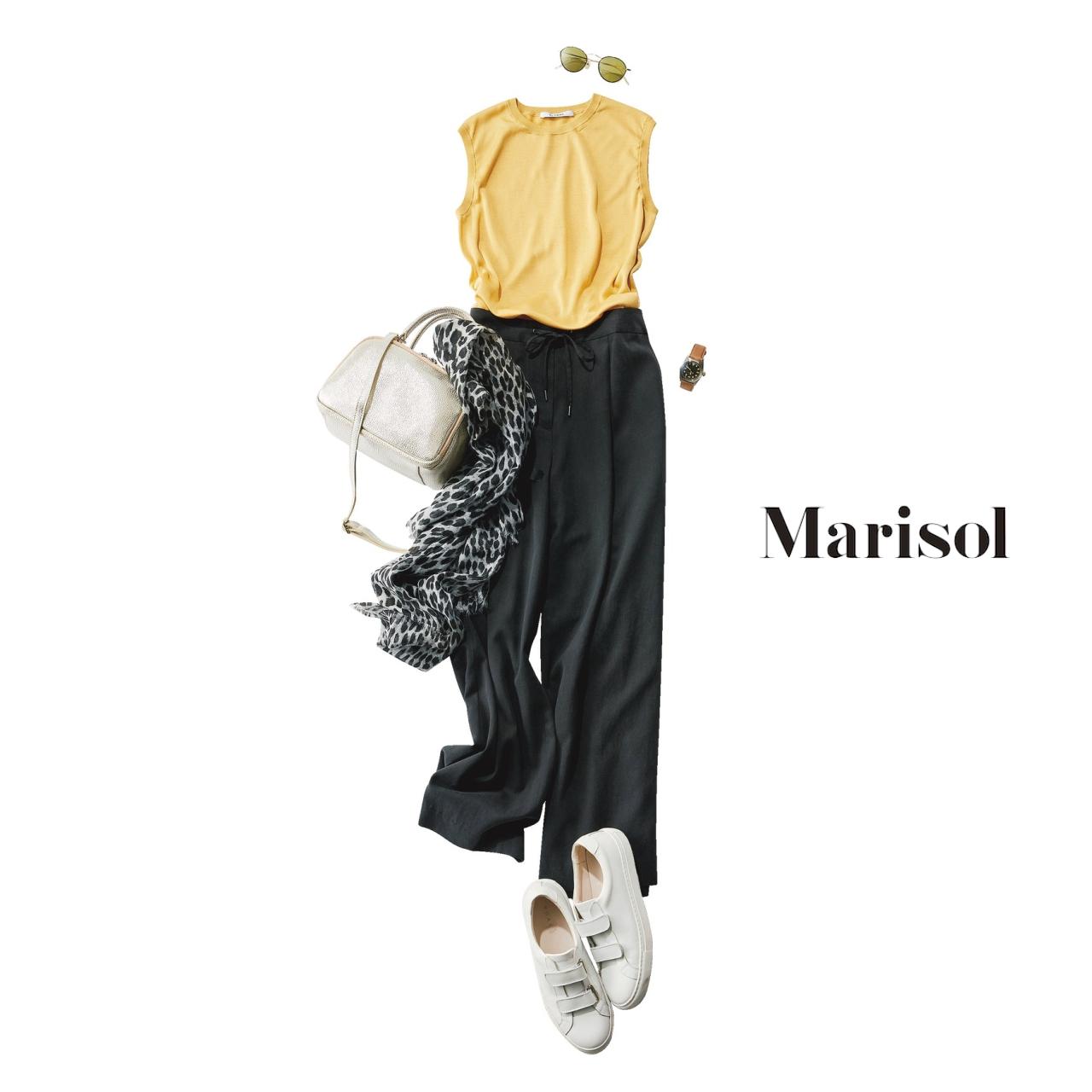 40代ファッション イエローニット×リネン混パンツコーデ