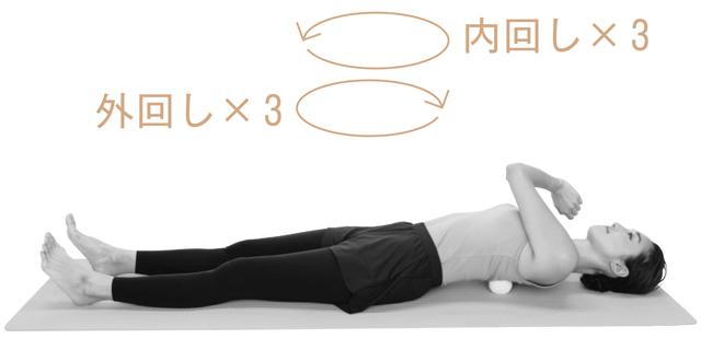 息を吐きながら8カウントで肩を大きく動かすように左腕を回す。1カ所につき外回しを3回、内回しを3回。反対側も同様に。