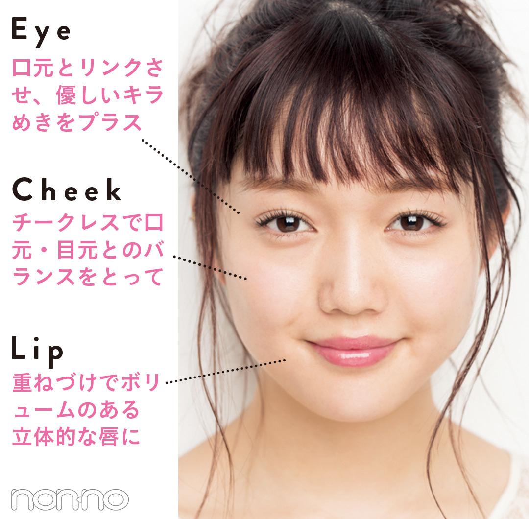 Eye:口元とリンクさせ、優しいキラめきをプラス  Cheek:チークレスで口元・目元とのバランスをとって  Lip:重ねづけでボリュームのある立体的な唇に