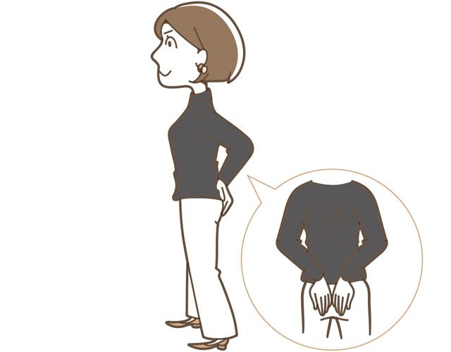 両足を平行にして肩幅よりやや広く開き、均等に重心をかけて立つ