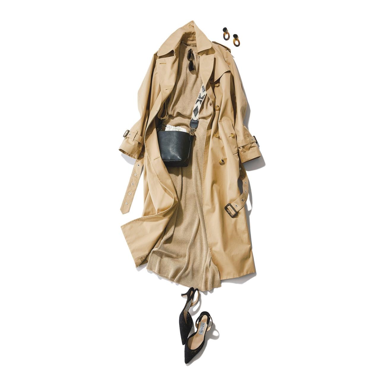 ベージュのトレンチコート×リブニットのセットアップのファッションコーデ