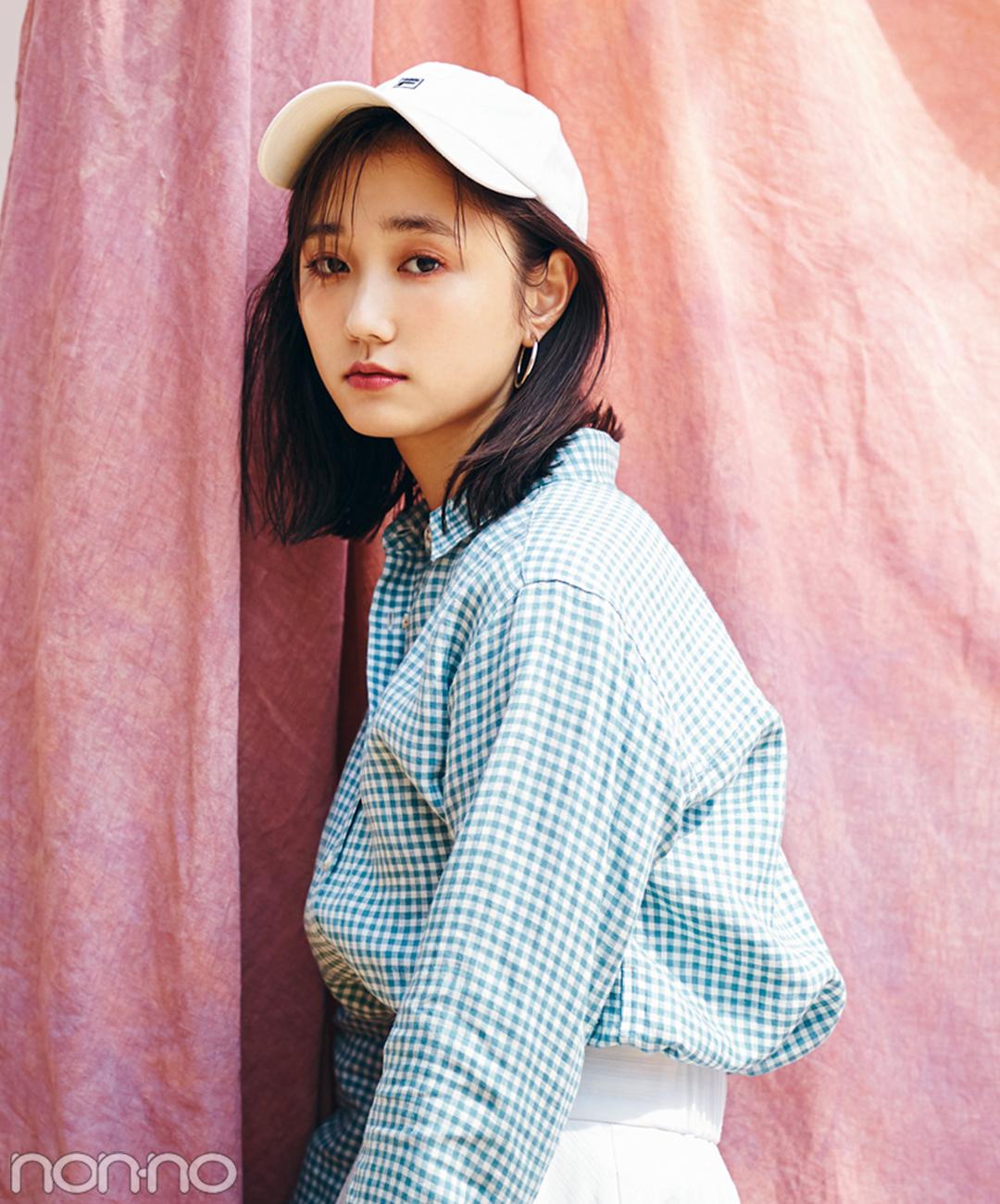 【夏のシャツコーデ】鈴木友菜の、ギンガムチェックシャツコーデ