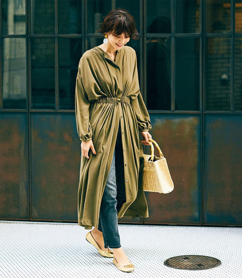 ワンピース×デニムパンツのファッションコーデ