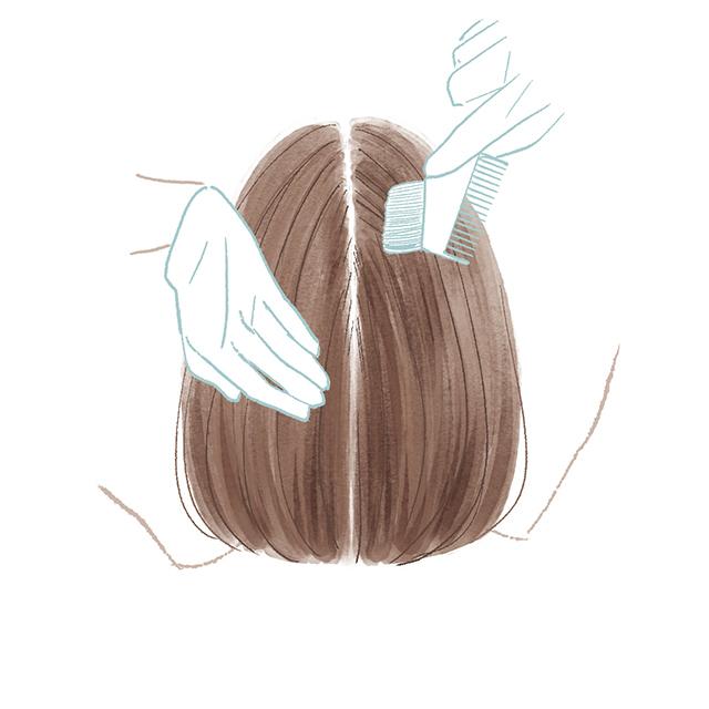 毛束を仕分ける方向が肝心
